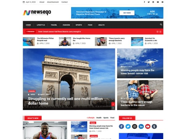 Newseqo - Elementor WordPress Theme