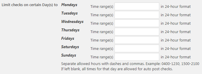 Limit Checks Certain Days