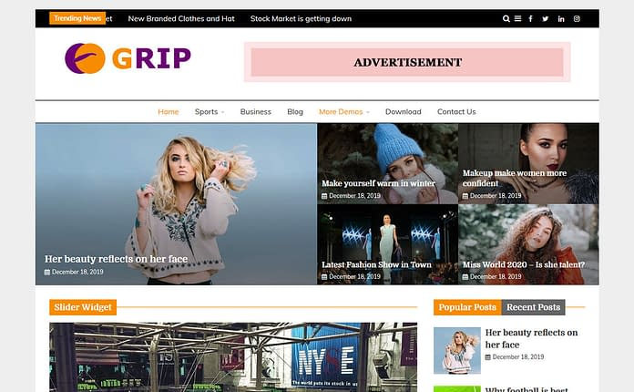 Grip Free Magazine WordPress Theme
