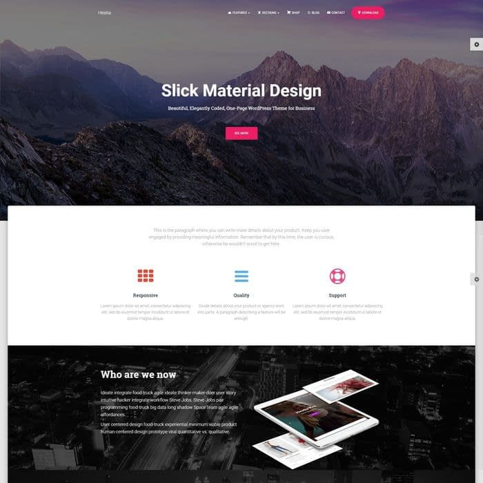 Hestia - Free Multipurpose WordPress Theme (Top #5 on WordPress.org)
