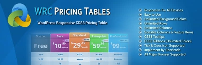 WRC Pricing Table - Best Free WordPress Pricing Table Plugins
