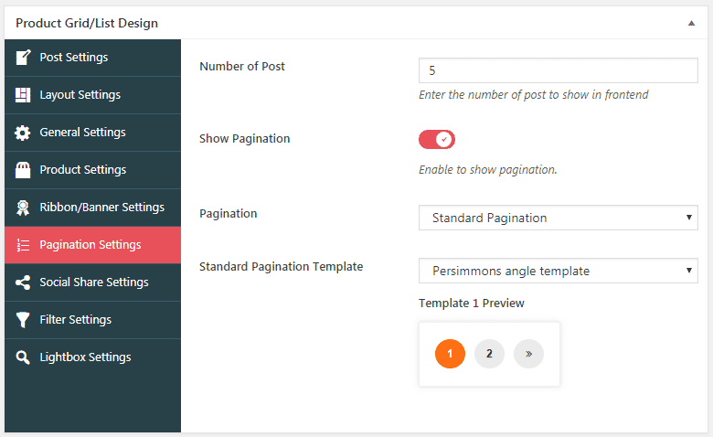 WOO Product Grid/List Design: Pagination Settings