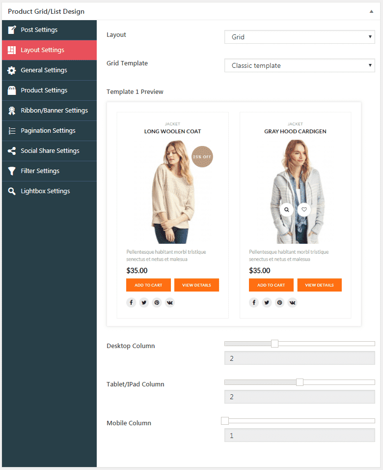 WOO Product Grid/List Design: Grid Layout Settings