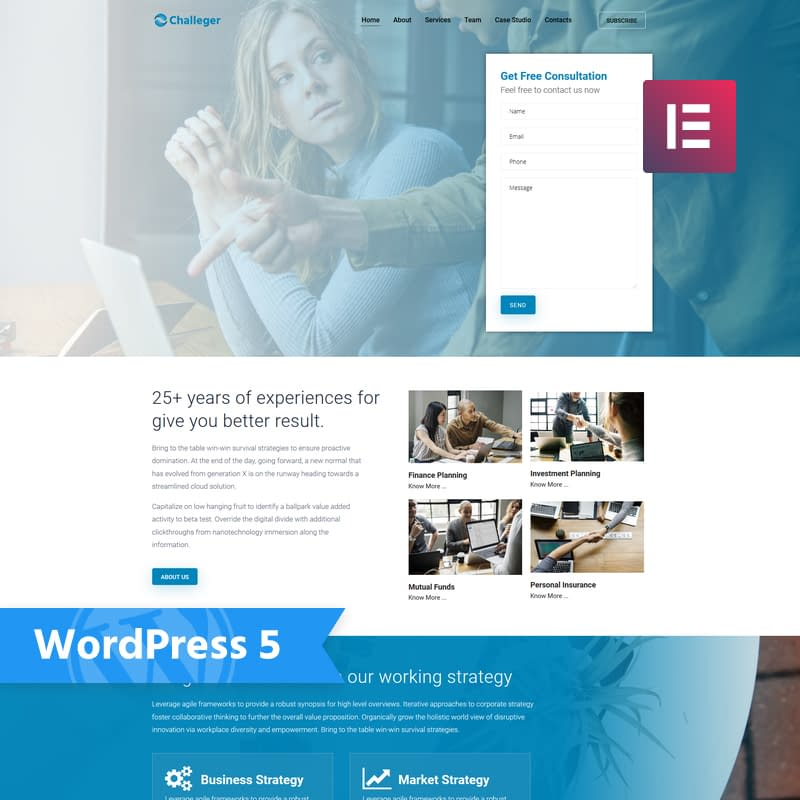 Challeger - Business Consulting Elementor WordPress Theme