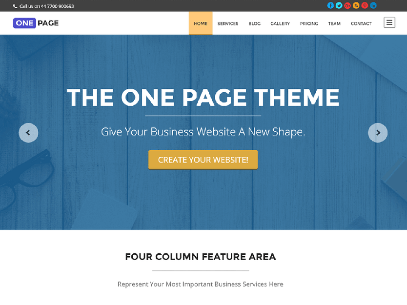 One Page - Best Free WordPress Themes January 2017