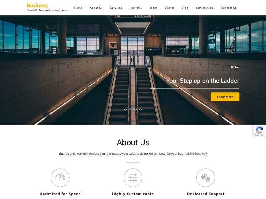 Business One Page - Free One Page WordPress Theme