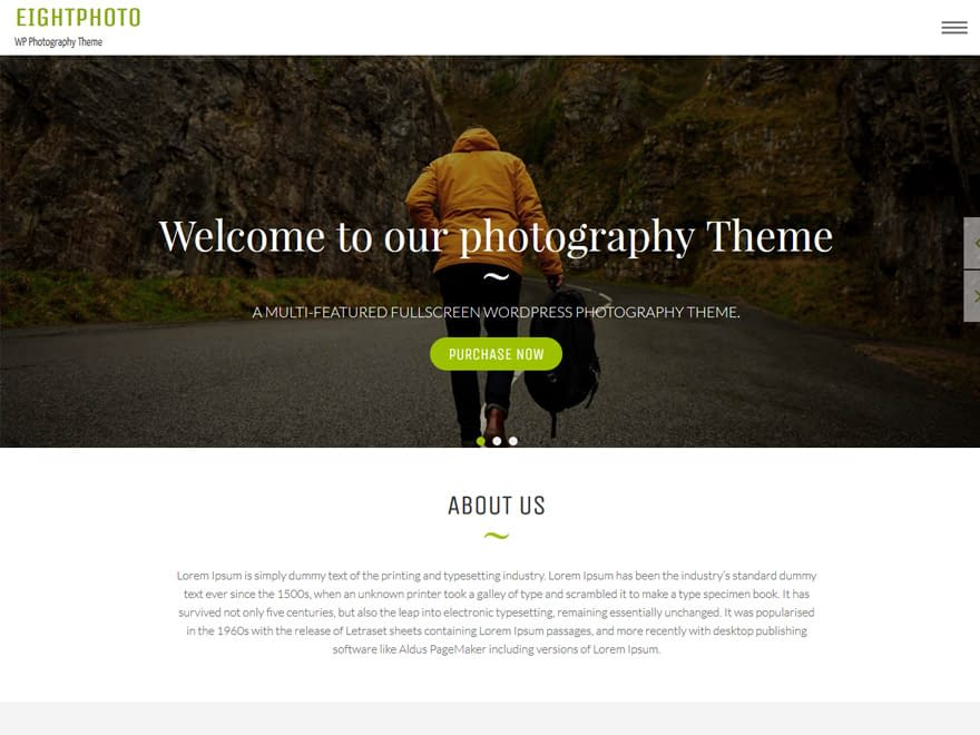 Eightphoto - Free WordPress photography theme