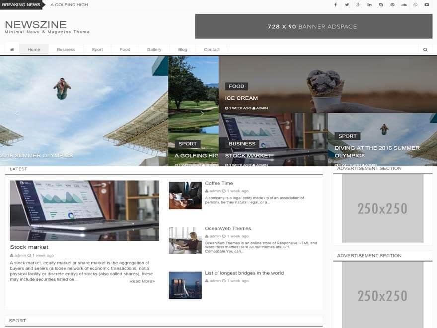 NewsZine - Best free WordPress Theme September 2016