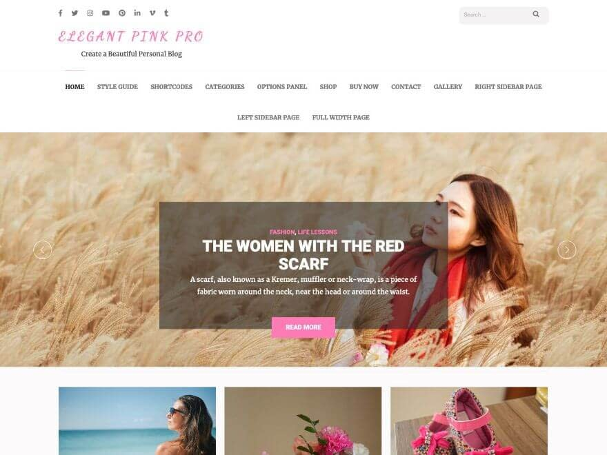 Elegant Pink Pro - Premium WordPress Blog Theme