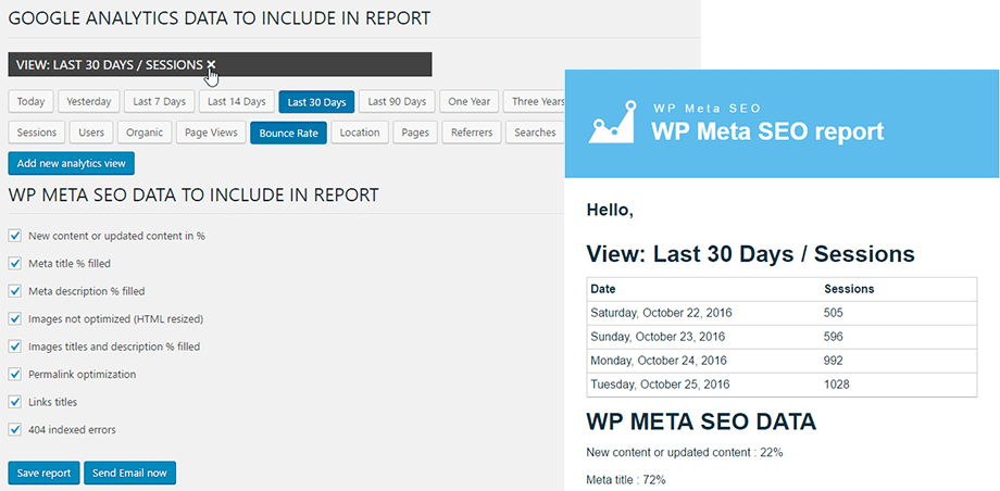 WP Meta Feature - Email Report