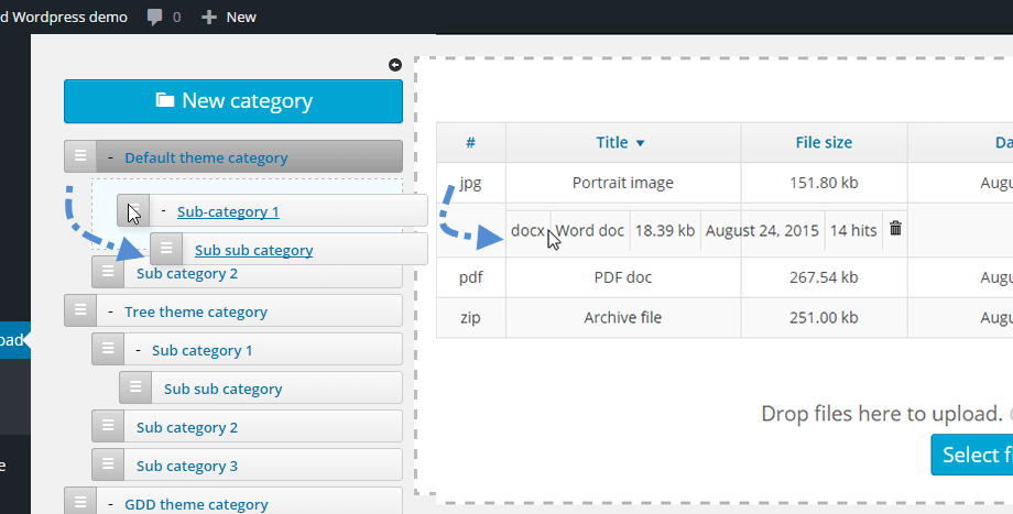 WP File Download feature - Drag and Drop interface