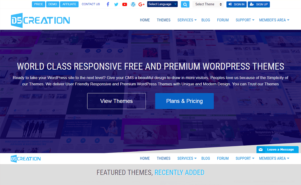 20% Off in Free and Premium WordPress Themes by D5 Creation