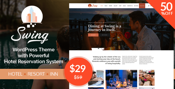50% off Per Month in Swing – WordPress Resort and Hostel Theme