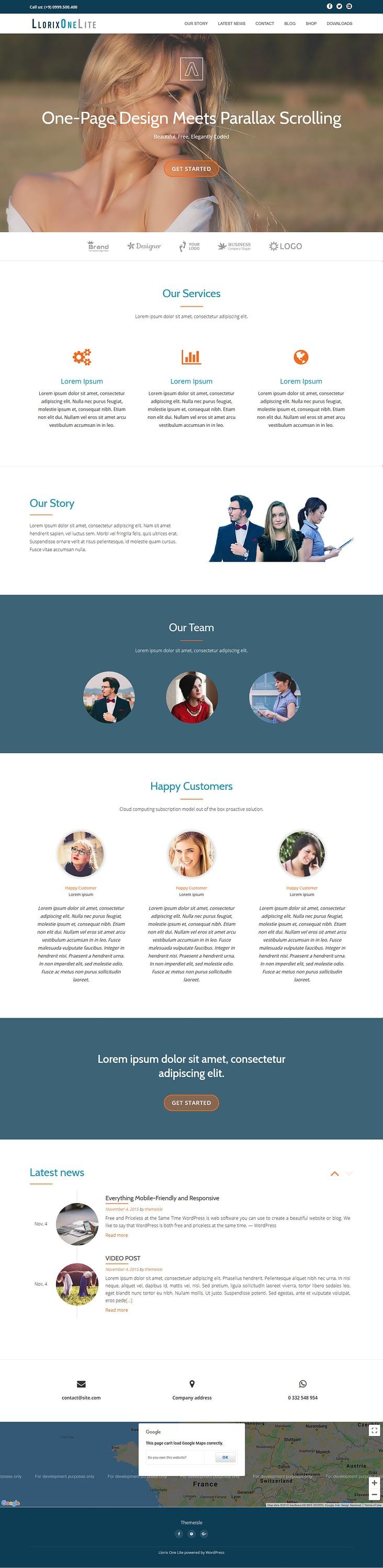 llorix one lite best free fullscreen wordpress theme - 10+ Best Free FullScreen WordPress Themes