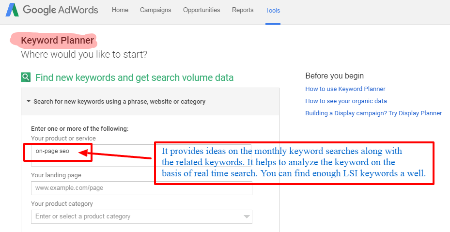 Keyword Planner Google - On-Page SEO Guide - How to Optimize your WordPress Blog