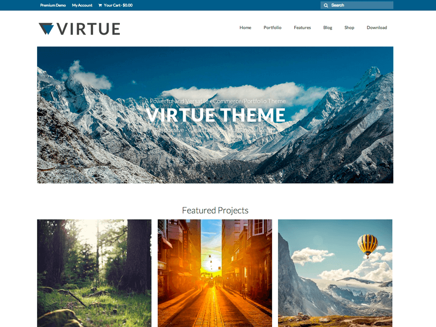 Virtue - 50+ Best Free Responsive WordPress Themes 2019