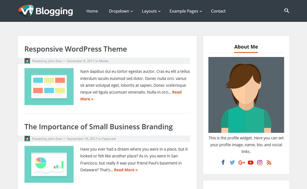 vt blogging best free wordpress themes january 2018 - 21+ Best Free WordPress Themes January 2018