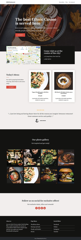 neve best restaurant wordpress theme - 10+ Best Free Restaurant/Food WordPress Themes