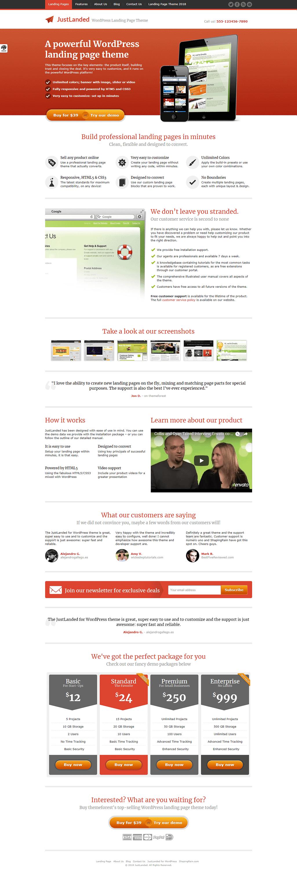 Just Landed - Premium WordPress Landing Page Themes