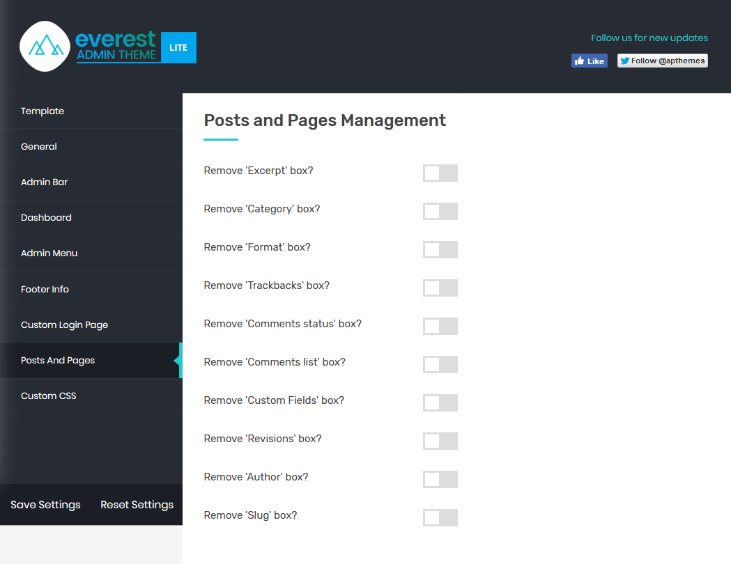 Everest Admin Theme: Pages and Posts