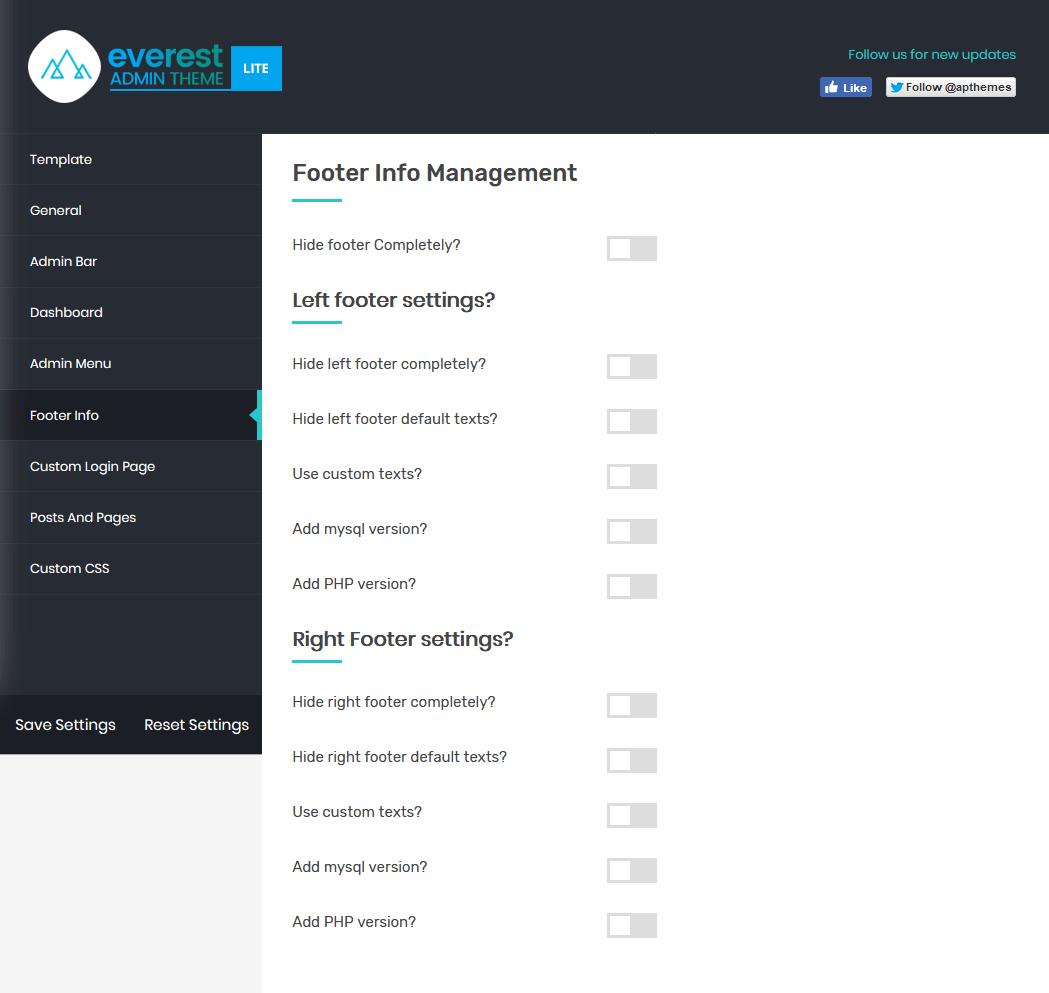 Everest Admin Theme: Footer Info