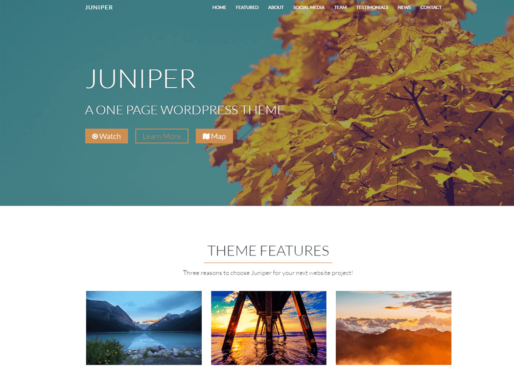 Juniper WordPress One page Theme - 21+ Best Free One Page WordPress Themes and Templates 2019