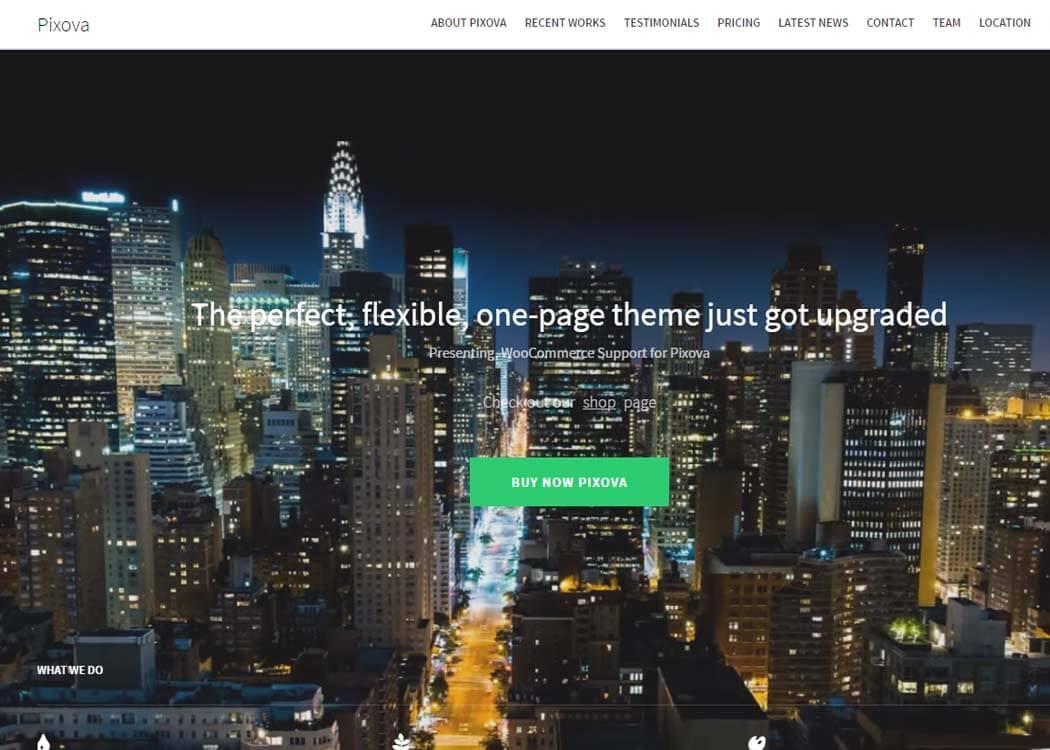 Pixova - WordPress One page Theme