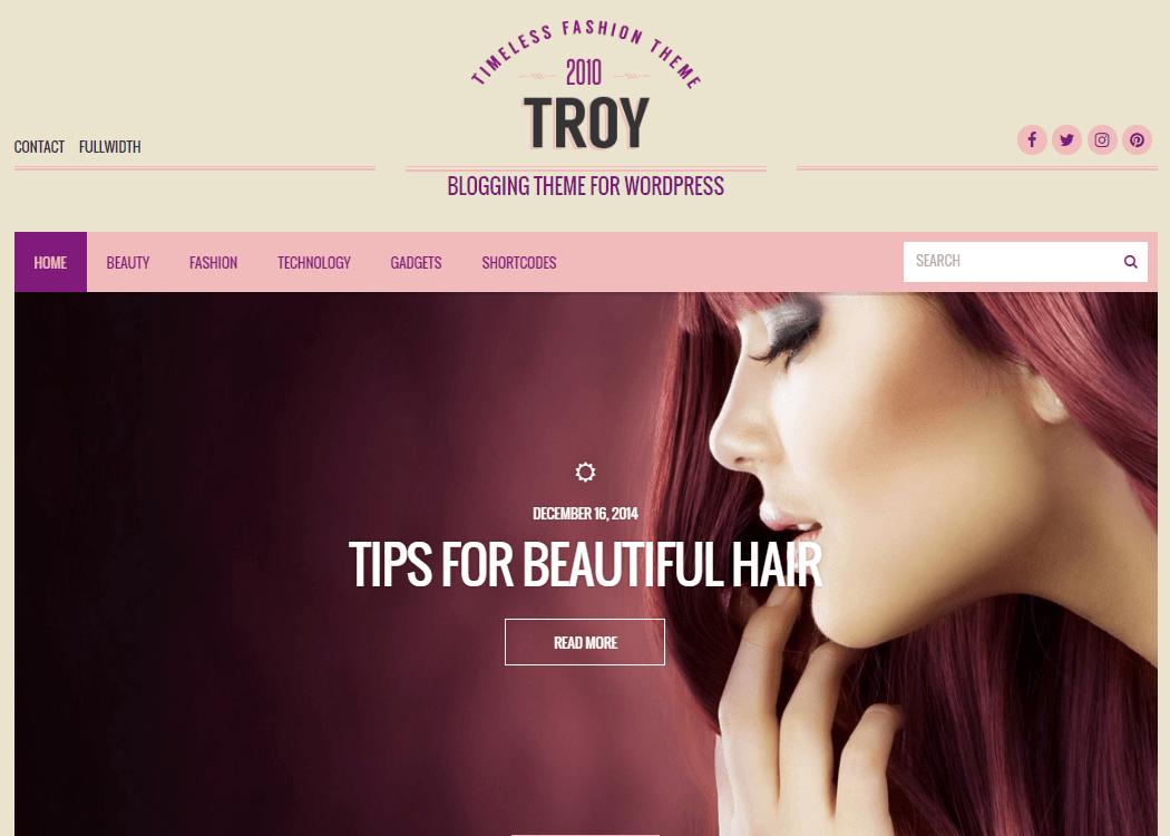 Troy - WordPress Blog Theme