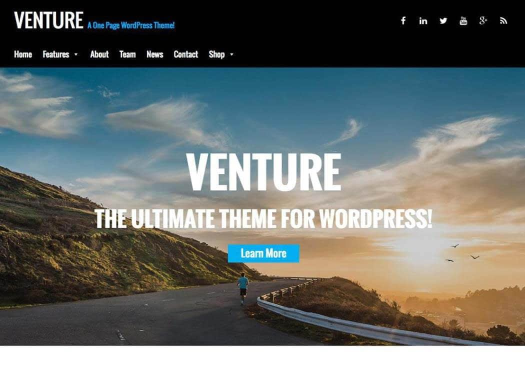 Venture WordPress One page Theme - 35+ Best Premium WordPress Themes and Templates 2019 [UPDATED]