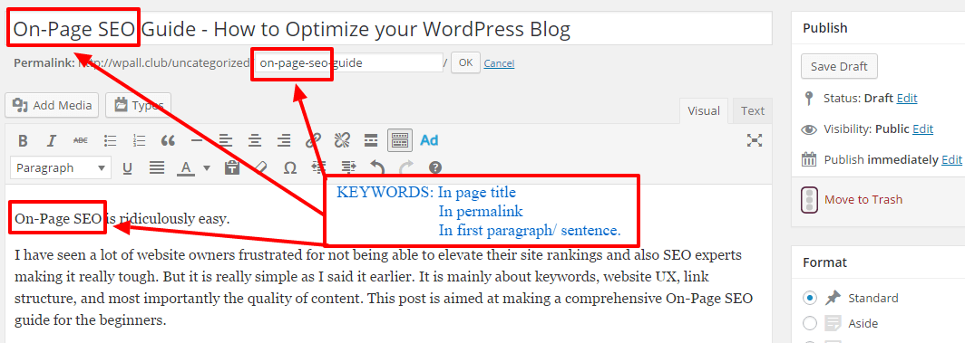 using keywords - On-Page SEO Guide - How to Optimize your WordPress Blog