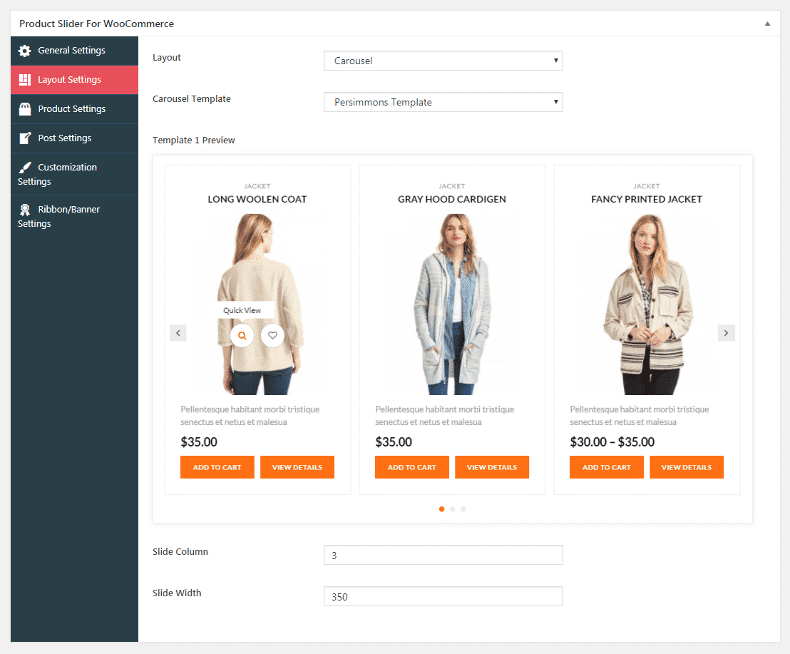 Product Slider for WooCommerce Lite: Layout Settings