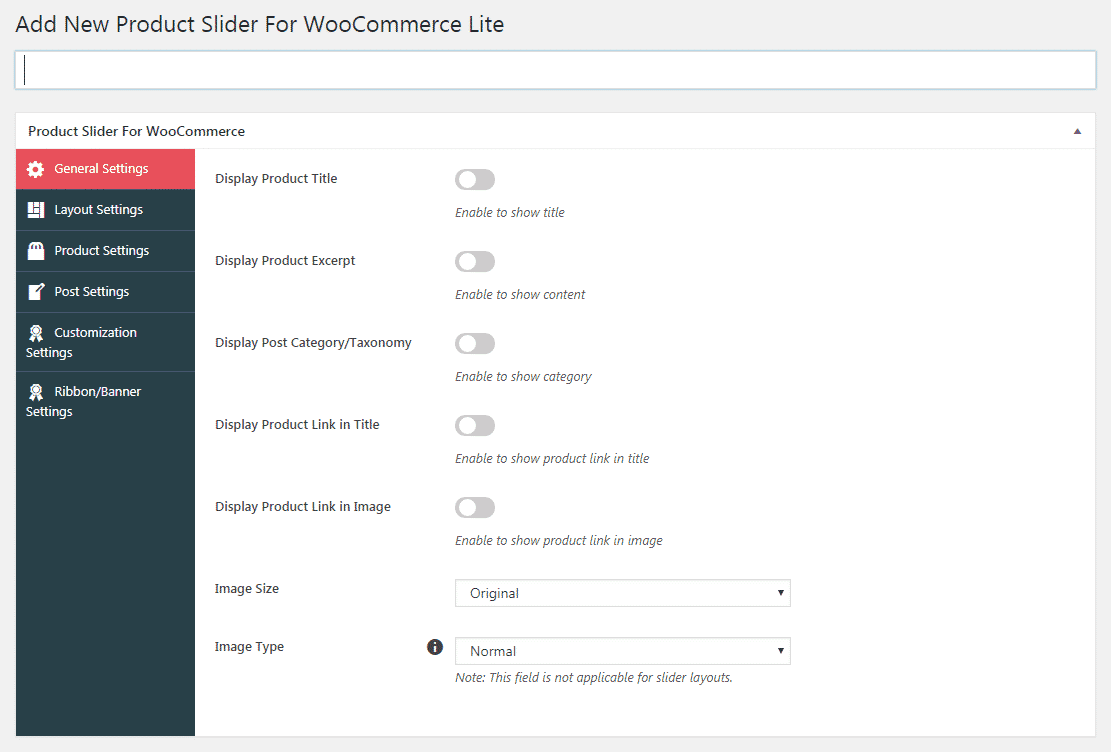 Product Slider for WooCommerce Lite General Settings