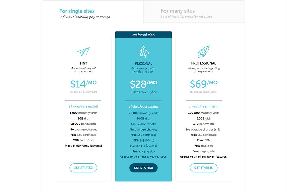 FlyWheel WordPress Hosting Plans