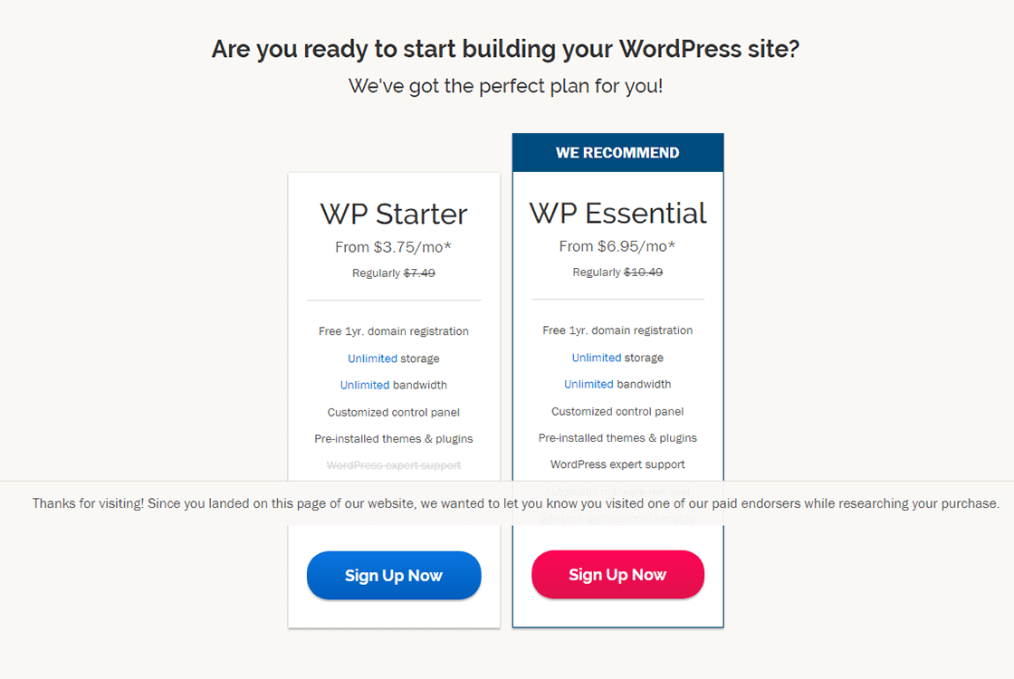 iPage WordPress Hosting Plans