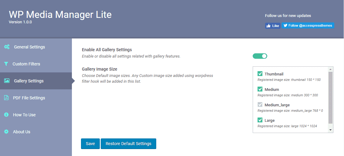 WP Media Manager: Gallery Settings