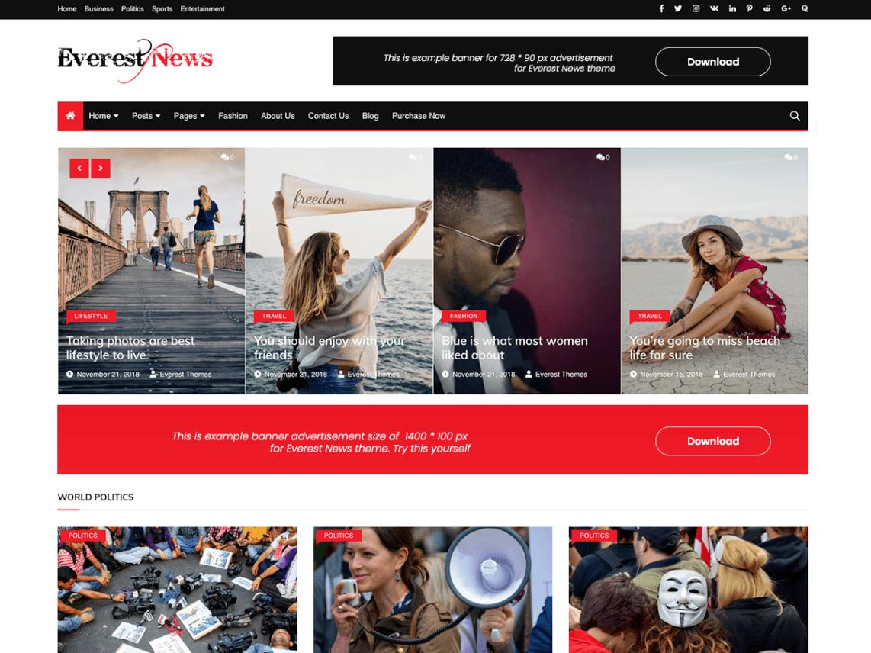 Everest News WordPress Magazine Theme