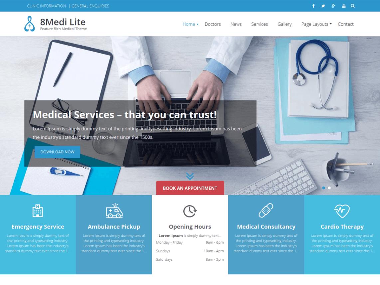 EightMedi Lite FREE WordPress Medical Theme - Feature-rich Free Responsive WordPress Health & Medical Theme - EightMedi Lite