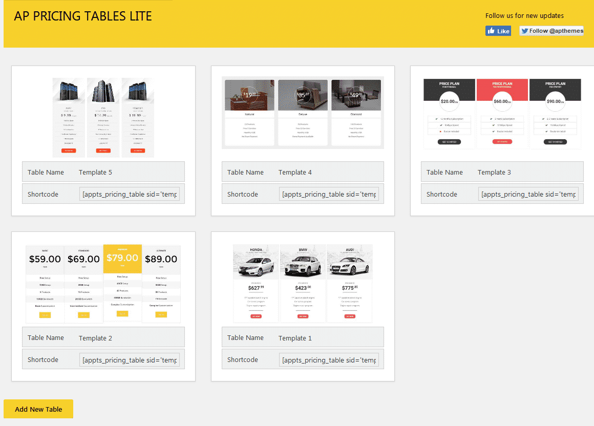 AP Pricing Tables Lite Page