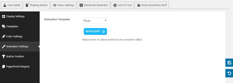 WP WhatsApp Button: Animation Settings