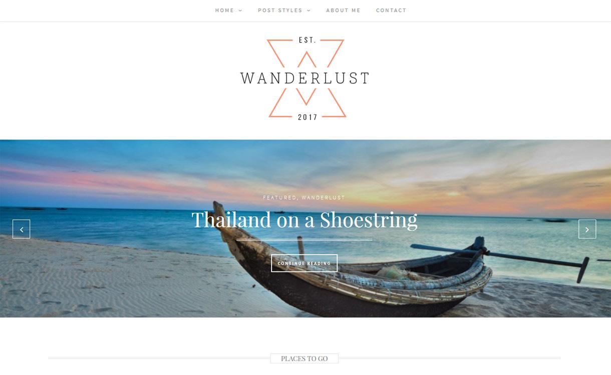 Wanderlust - Free WordPress themes and templates