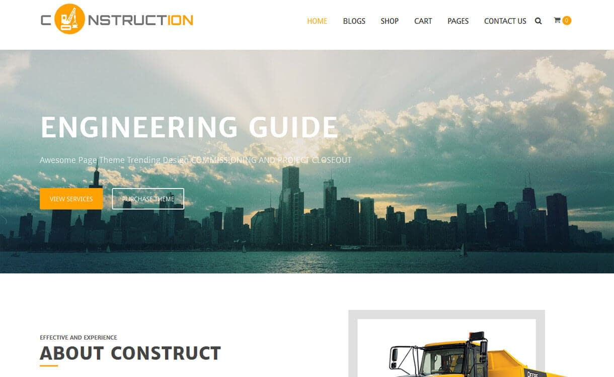 Construction - Best Free WordPress Construction Company Themes 2017