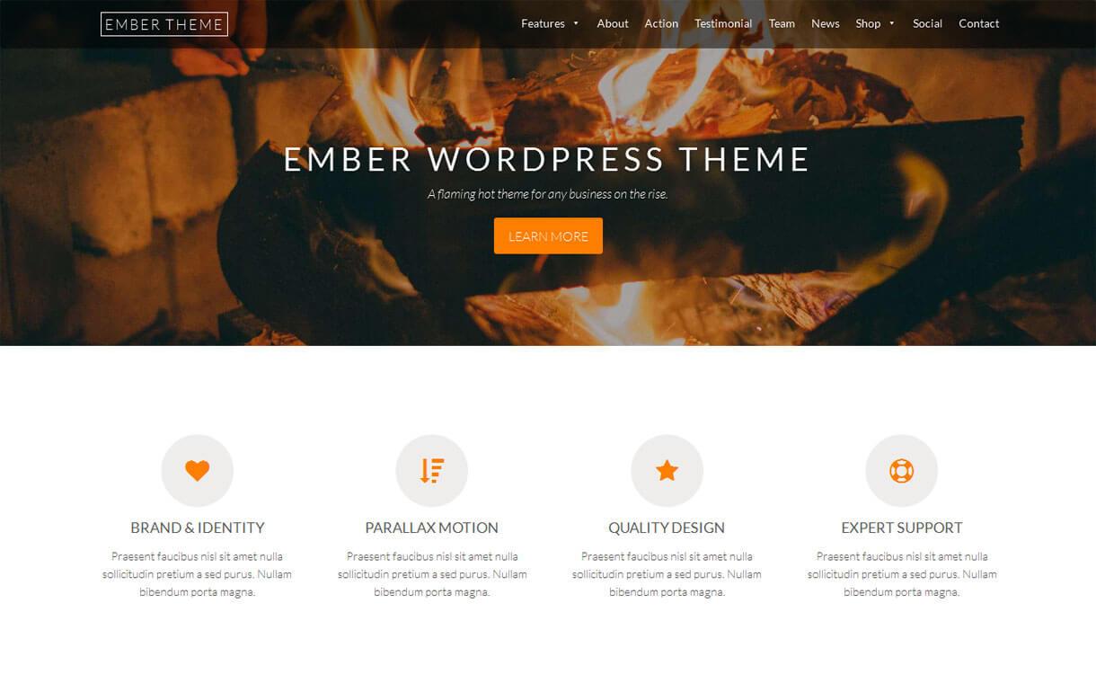 Ember - Best free WordPress Business Theme 2018