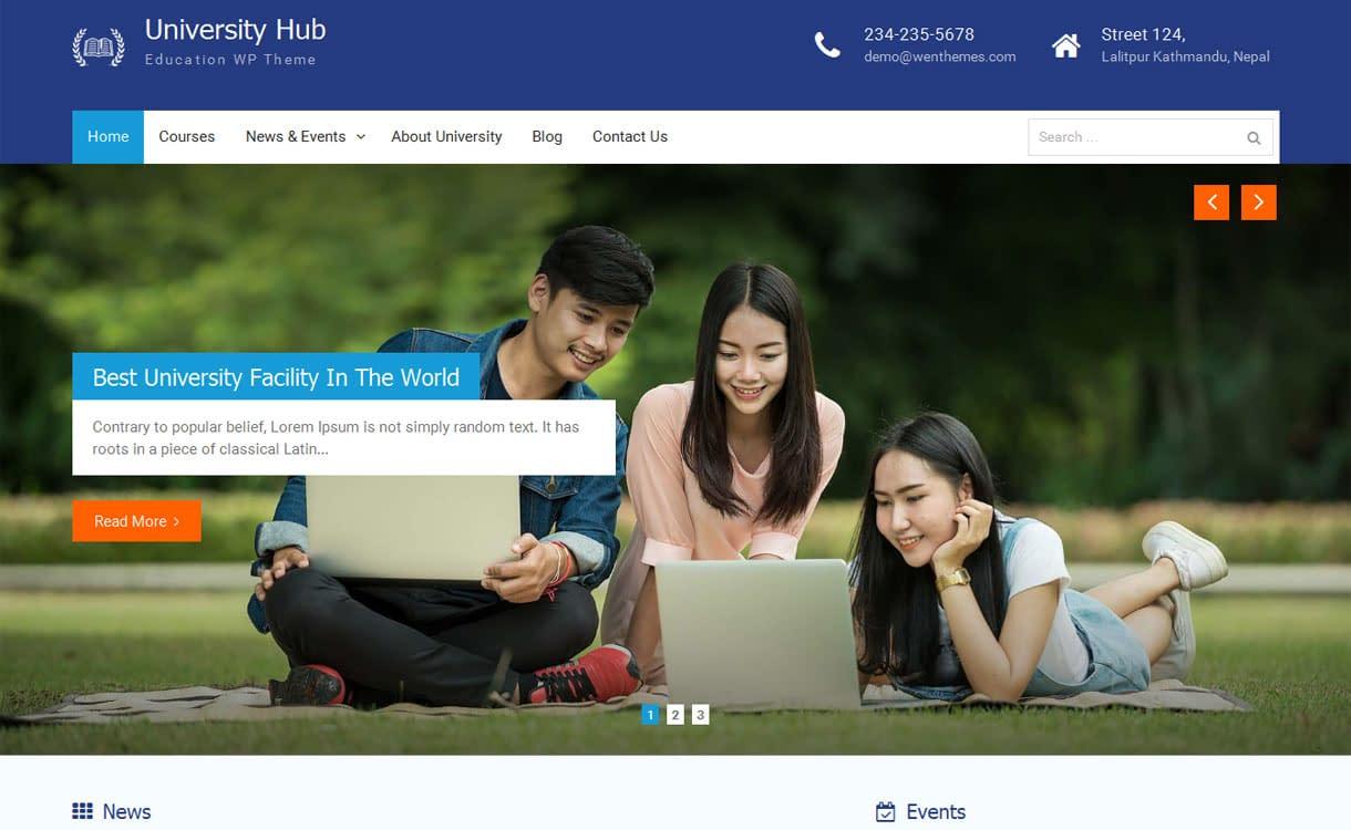 University Hub - Best Free WordPress Themes January 2017