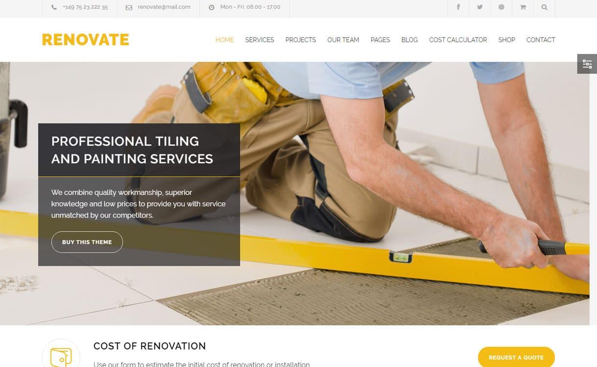 Renovate - Best Premium WordPress Construction Company Themes 2018