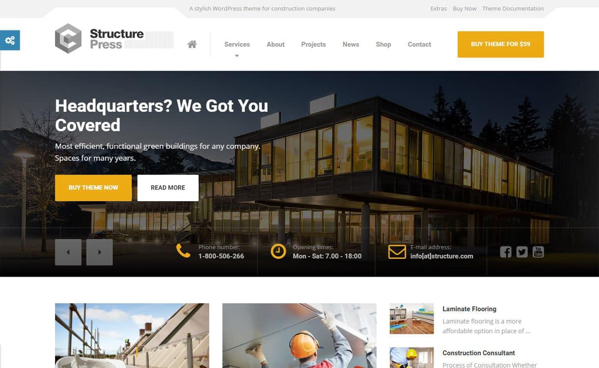 StructurePress - Best Premium WordPress Construction Company Themes 2018