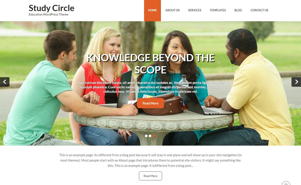Study Circle - Best Free Education WordPress Themes 2018