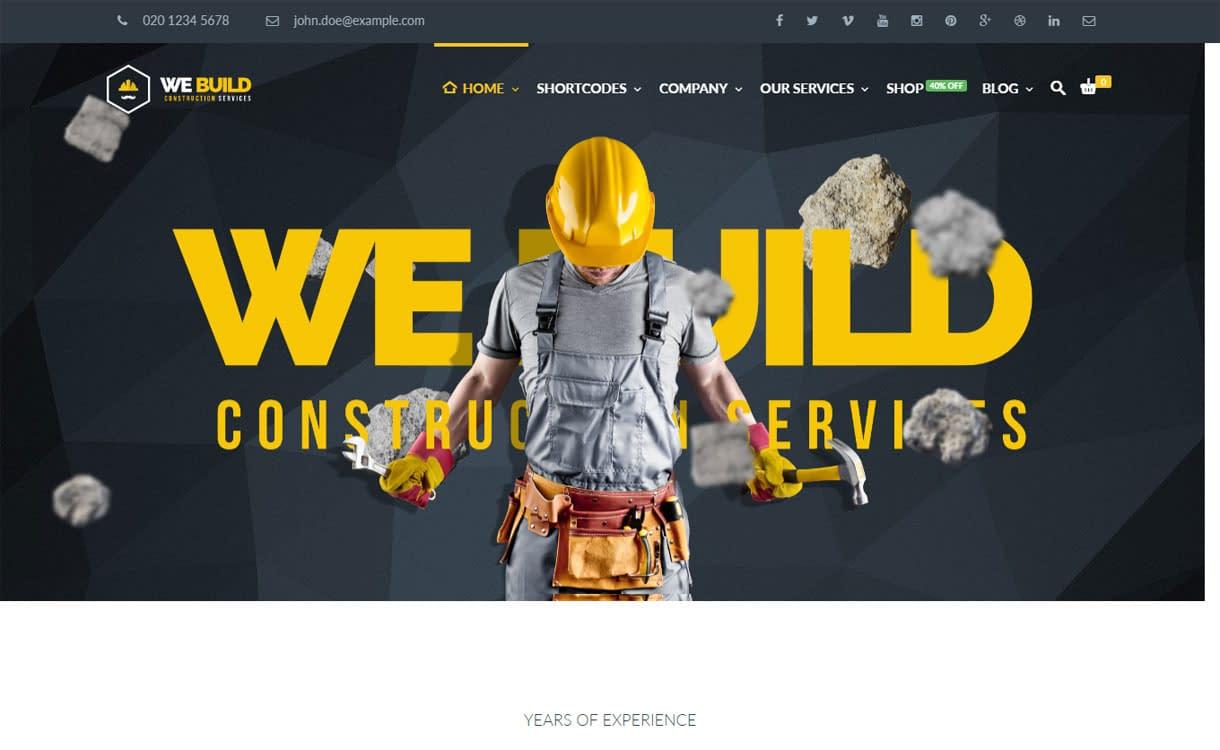 We Build - Best Premium WordPress Construction Company Themes 2018