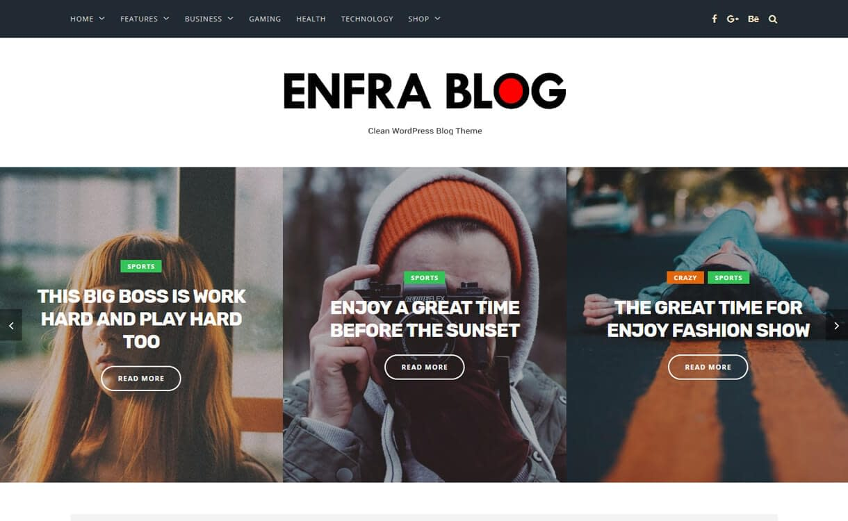 Enfra-WordPress Blog Themess