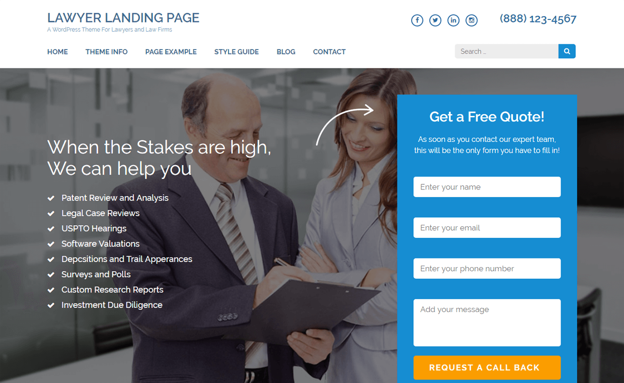 Lawyer Landing Page-Free WordPress Landing Page Theme