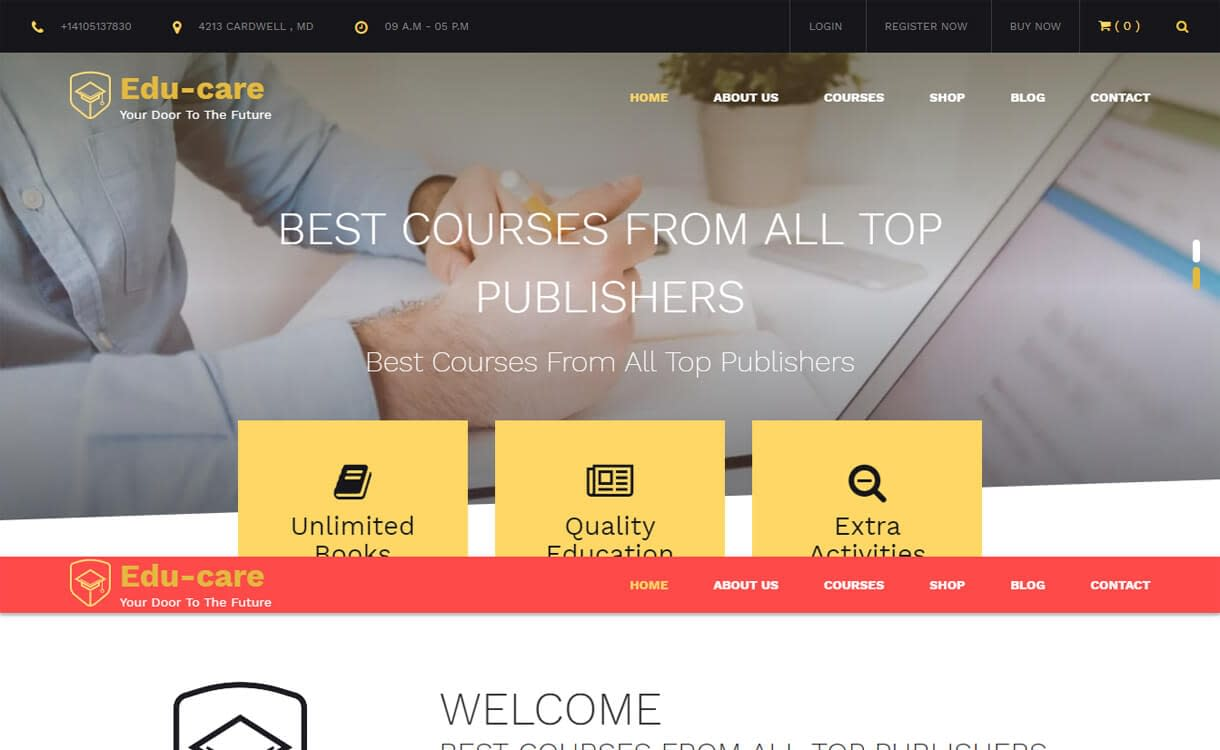 Edu Care-Best Free Education WordPress Themes 2018